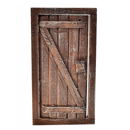 Porte 1 volet avec châssis bois crèche 9x5 cm 1