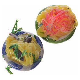 Runder Terrakottateller mit Essen 2 Stk. Wachs Durchmesser 1,5 s1