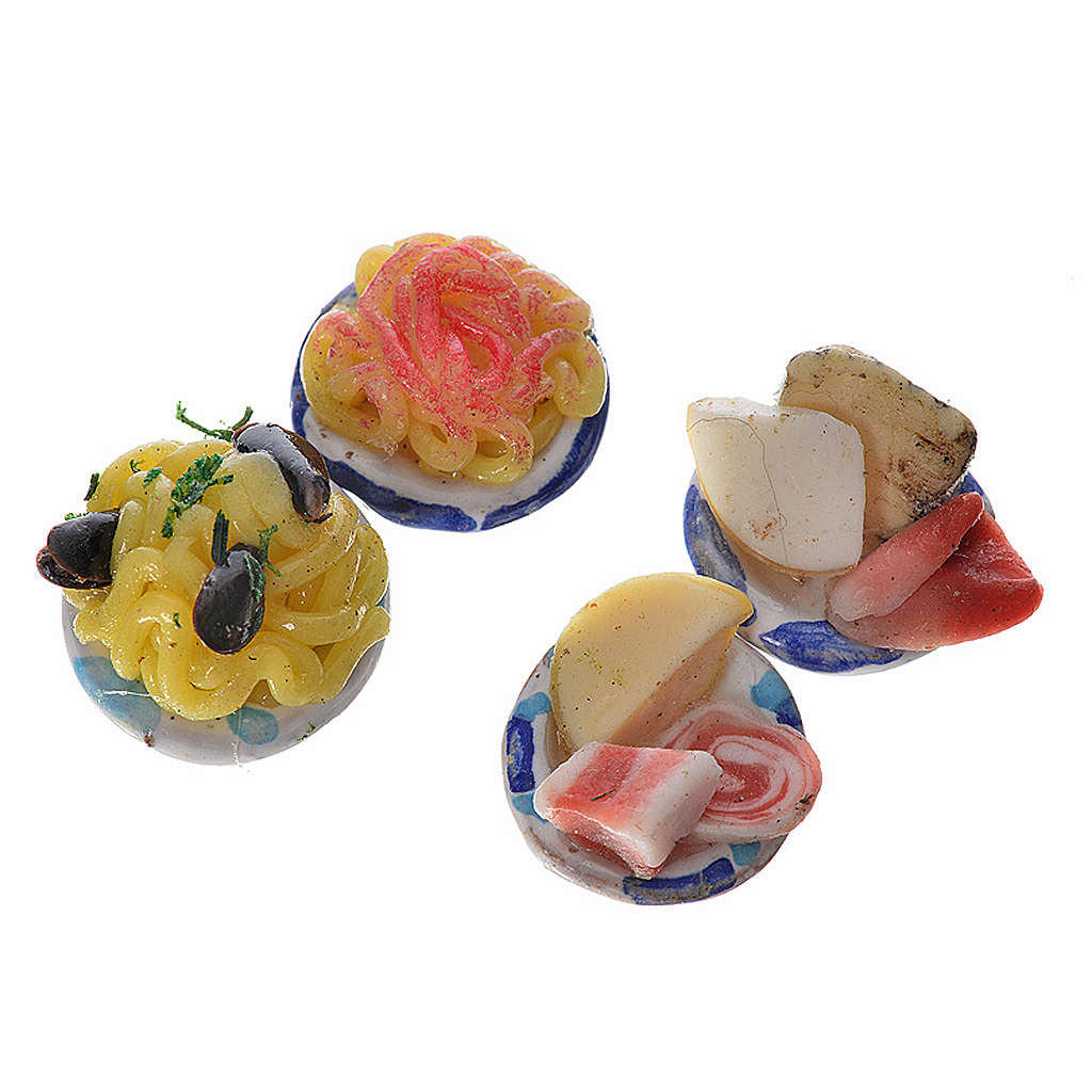 Nativity accessory, terracotta plate with assorted food in wax 4