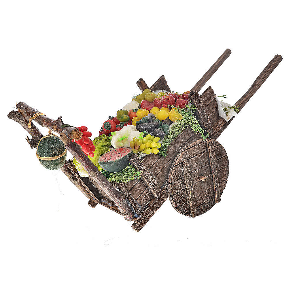 Neapolitan Nativity accessory, fruit and vegetable cart in wax 8 4