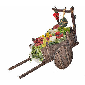 Neapolitan Nativity accessory, fruit and vegetable cart in wax 8 s1