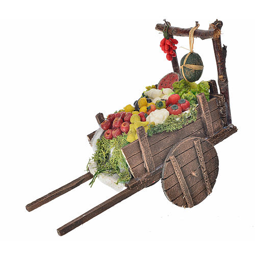 Neapolitan Nativity accessory, fruit and vegetable cart in wax 8 1