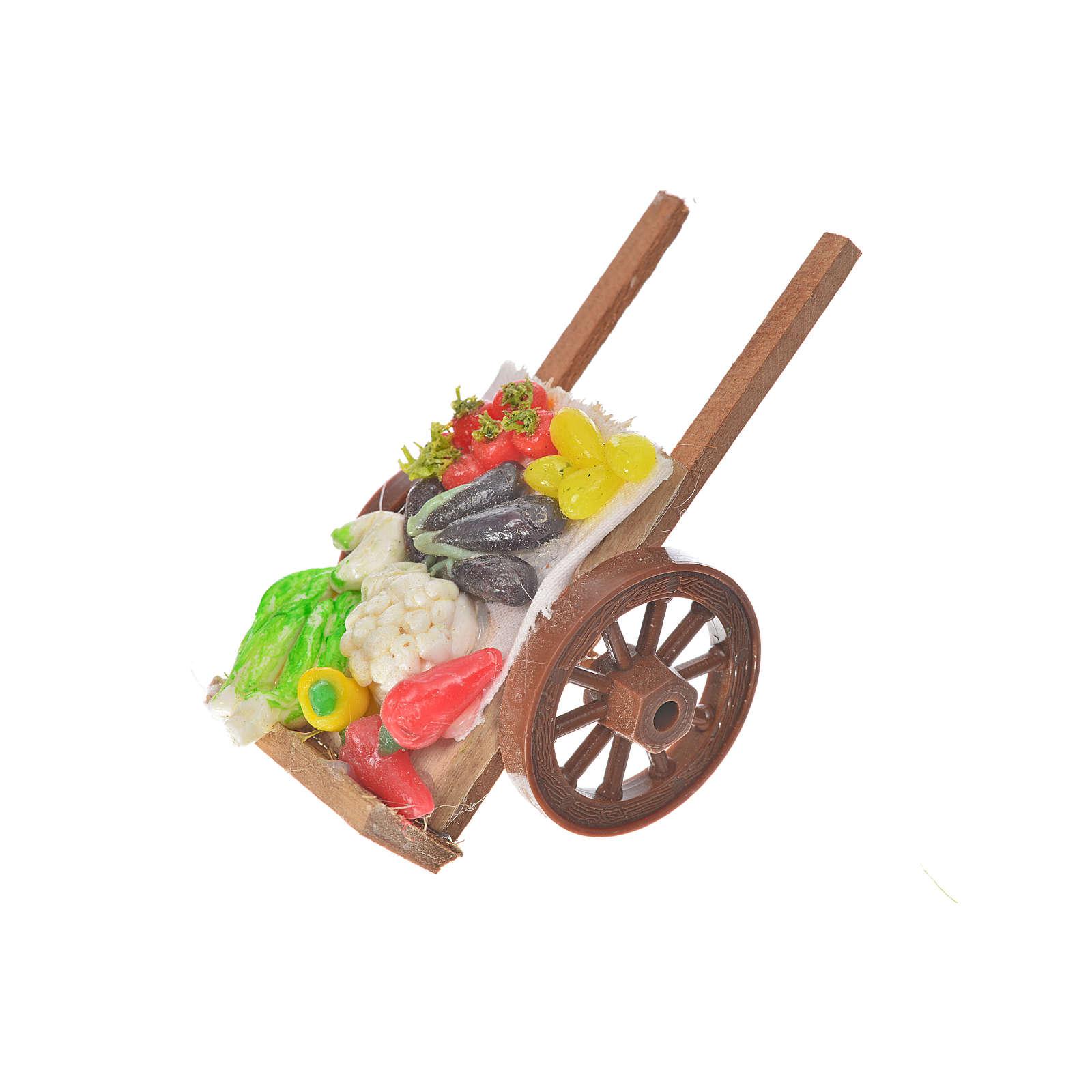 Neapolitan Nativity accessory, vegetable cart in wax 5x9x5cm 4