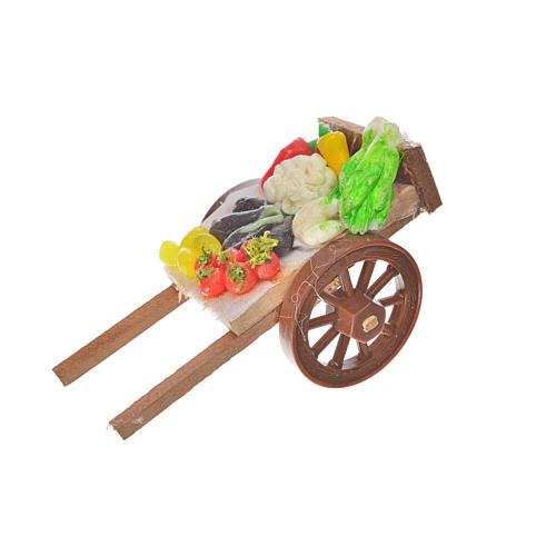 Neapolitan Nativity accessory, vegetable cart in wax 5x9x5cm 1