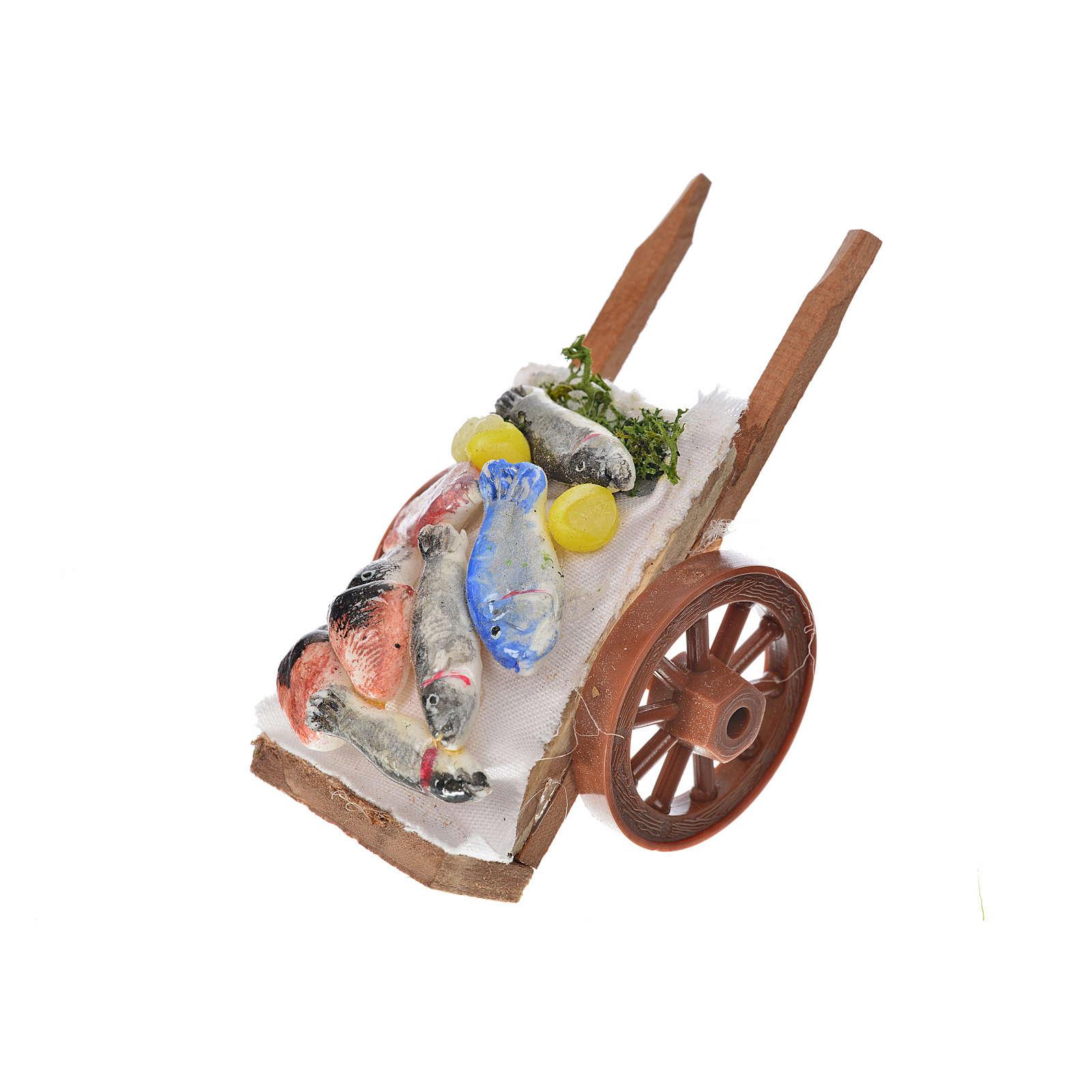 Neapolitan Nativity accessory, fish cart in wax 5x9x5cm 4