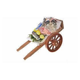 Neapolitan Nativity accessory, fish cart in wax 5x9x5cm s1