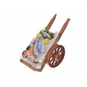 Neapolitan Nativity accessory, fish cart in wax 5x9x5cm s2