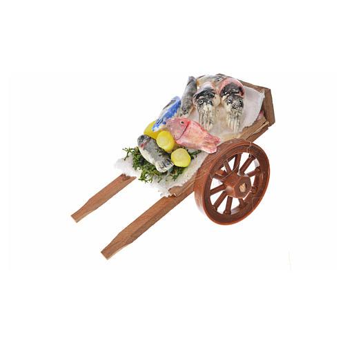 Neapolitan Nativity accessory, fish cart in wax 5x9x5cm 1