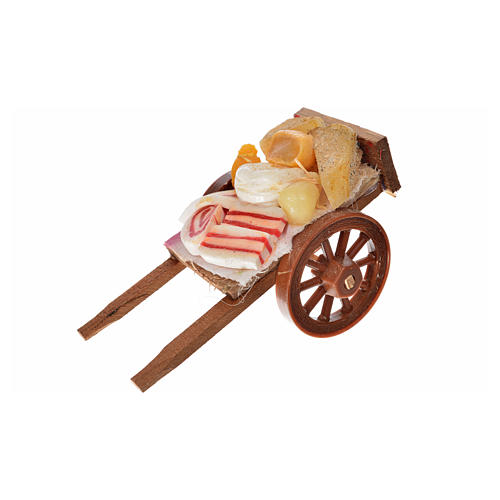 Neapolitan Nativity accessory, ham and cheese cart in wax 5x9x5c 1