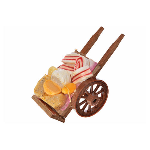 Neapolitan Nativity accessory, ham and cheese cart in wax 5x9x5c 2
