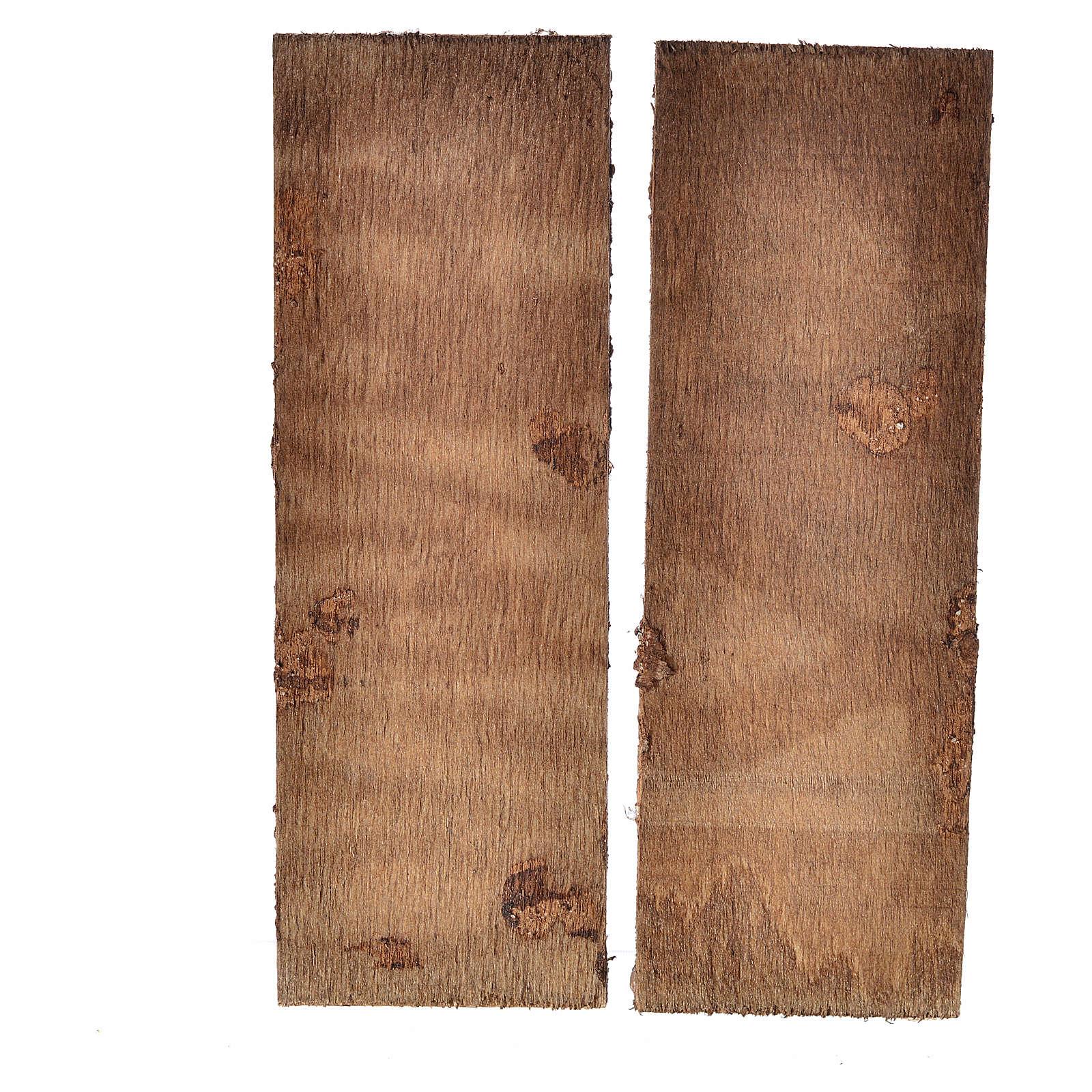 Nativity accessory, double door in wood 12x9cm 4