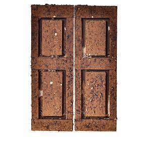 Porta in legno 2 ante 12x9 cm per presepe fai da te s1