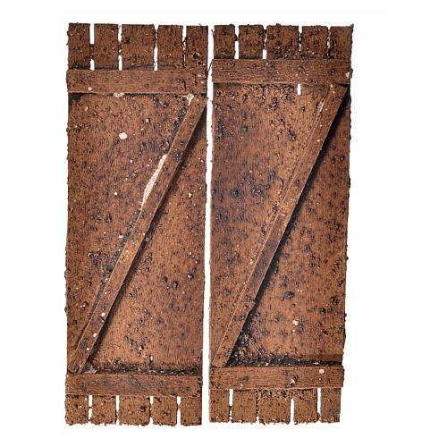 Porta in legno a 2 ante 12x9 cm presepi fai da te 1