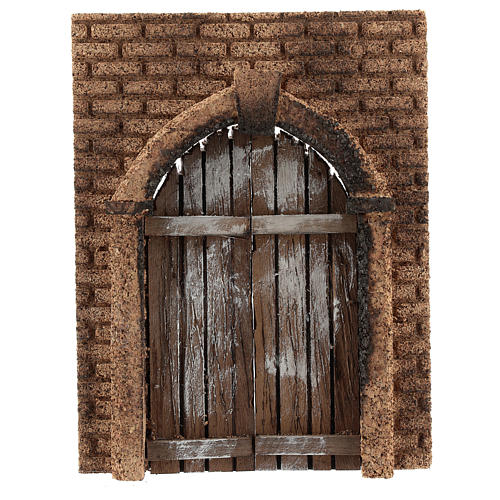 Portón rústico de madera pared corcho 21x15 cm 1
