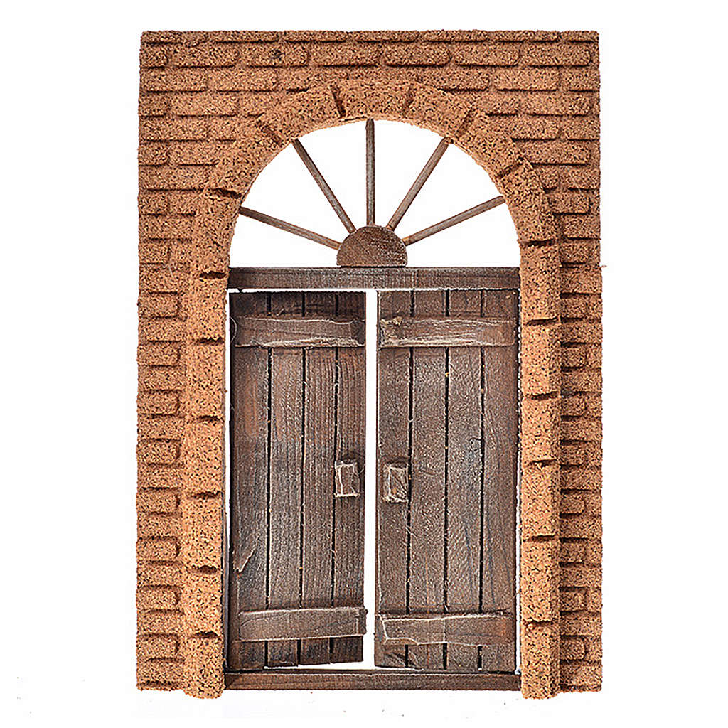 Nativity accessory, rustic wooden door with cork wall 21x15cm 4