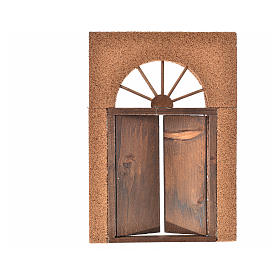 Nativity accessory, rustic wooden door with cork wall 21x15cm s4