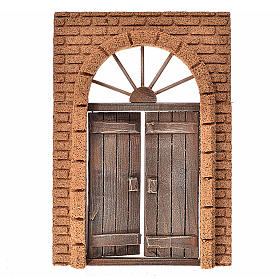 Nativity accessory, rustic wooden door with cork wall 21x15cm s1
