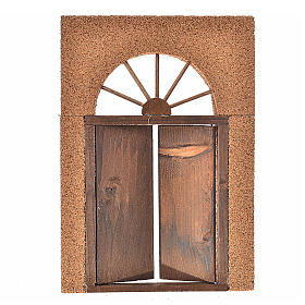 Nativity accessory, rustic wooden door with cork wall 21x15cm s2
