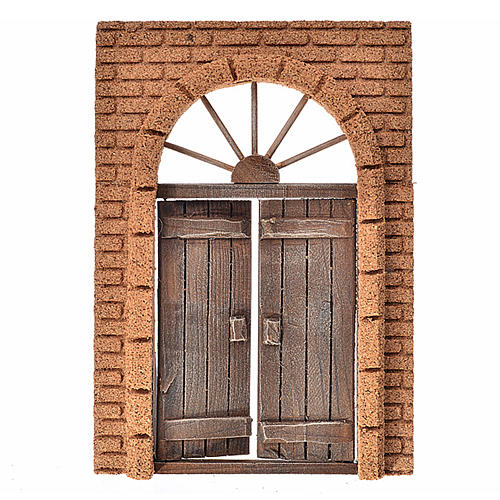 Nativity accessory, rustic wooden door with cork wall 21x15cm 1