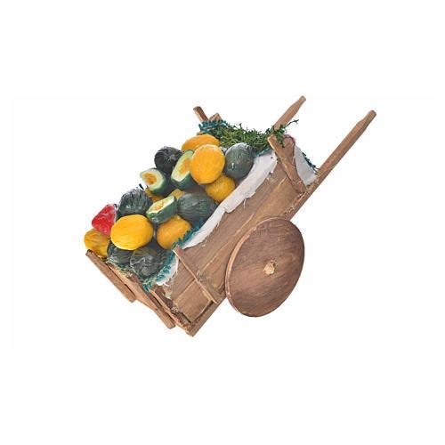 Neapolitan Nativity accessory, melon and watermelon cart in wax 2