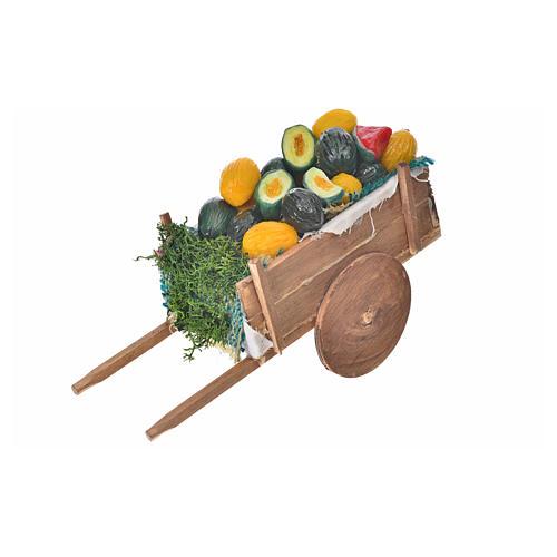 Neapolitan Nativity accessory, melon and watermelon cart in wax 1