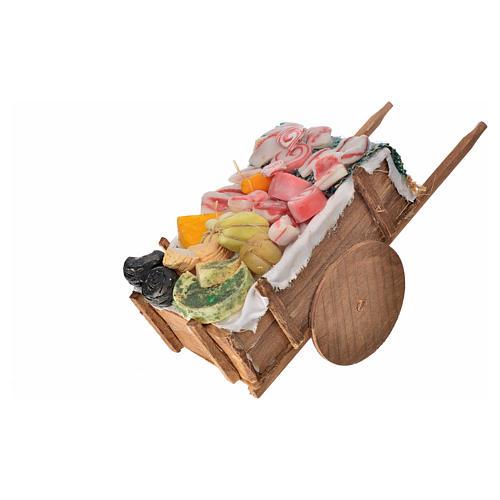 Carro napoletano salumi e formaggi in cera 10x18,5x7 cm 2