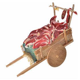 Neapolitan Nativity accessory, meat cart in wax 10x18.5x7cm s1