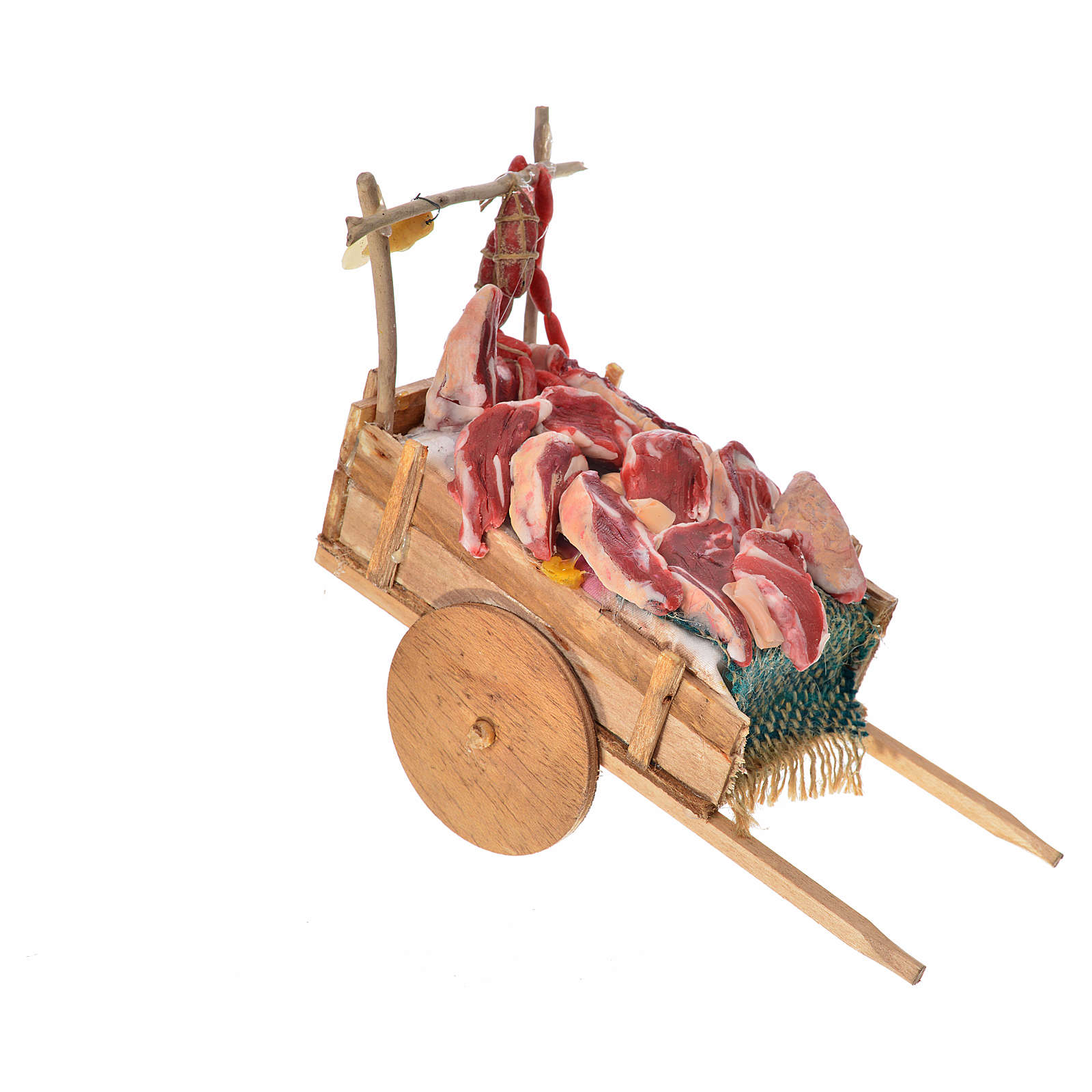 Neapolitan Nativity accessory, meat cart in wax 10x18.5x7cm 4