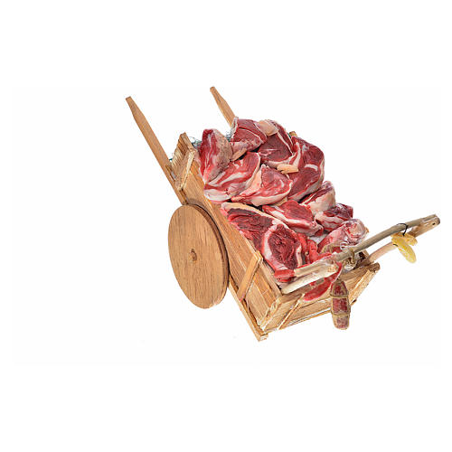 Neapolitan Nativity accessory, meat cart in wax 10x18.5x7cm 3