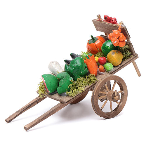Neapolitan Nativity accessory, fruit and vegetable cart 8x12x7cm 1