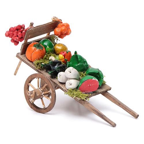 Neapolitan Nativity accessory, fruit and vegetable cart 8x12x7cm 2