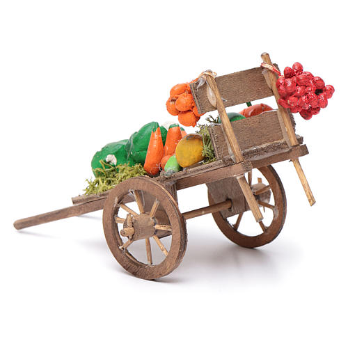 Neapolitan Nativity accessory, fruit and vegetable cart 8x12x7cm 3