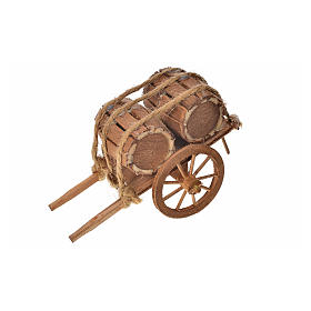 Neapolitan Nativity accessory, barrels cart 8x12x7cm s3
