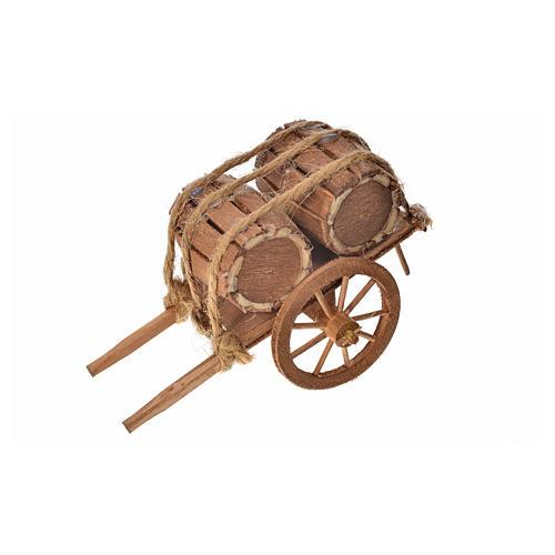 Neapolitan Nativity accessory, barrels cart 8x12x7cm 3