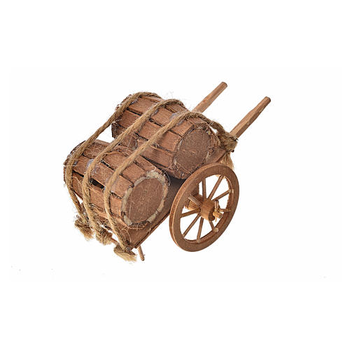 Neapolitan Nativity accessory, barrels cart 8x12x7cm 2