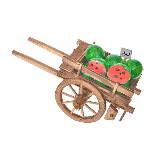 Char avec des pastèques crèche napolitaine 8x12x7cm 1