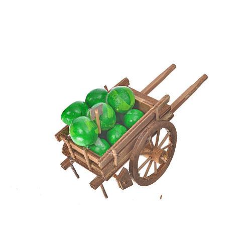 Char avec des pastèques crèche napolitaine 8x12x7cm 2
