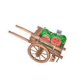 Neapolitan Nativity accessory, watermelon cart 8x12x7cm s3
