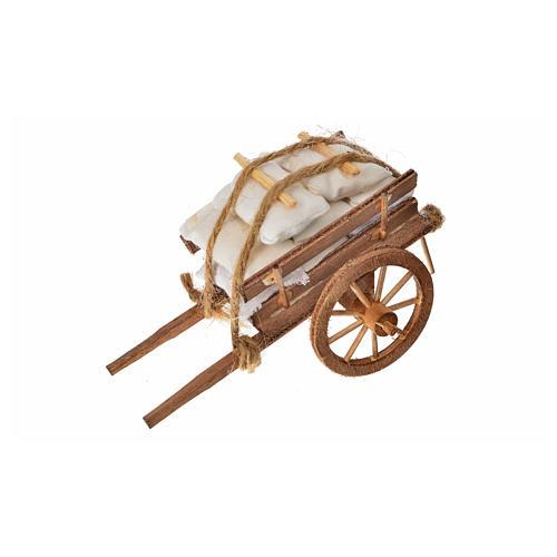 Char avec des sacs crèche napolitaine 8x12x7cm 3