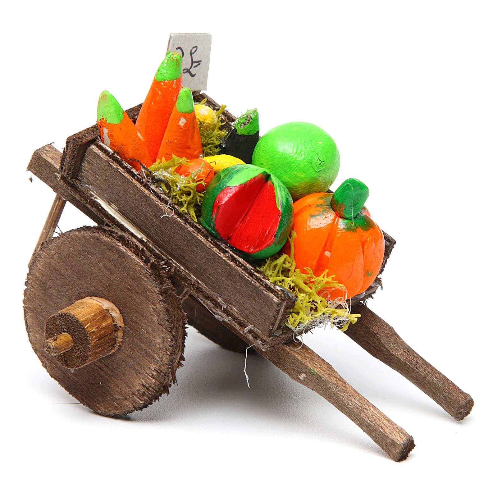 Carro napoletano presepe frutta ortaggi terracotta 5,5x7,5x5,5 c 4