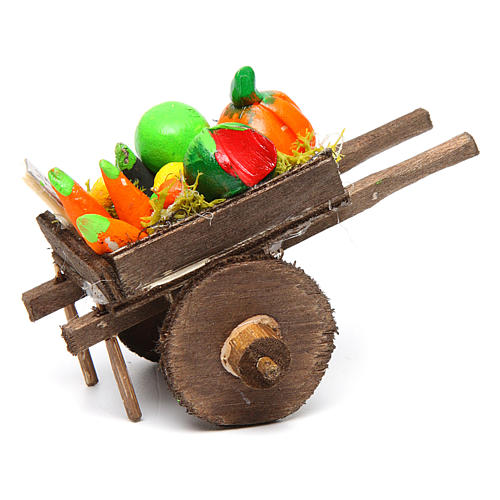 Carro napoletano presepe frutta ortaggi terracotta 5,5x7,5x5,5 c 3