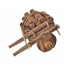 Char avec du bois crèche napolitaine 5,5x7,5x5,5cm s3
