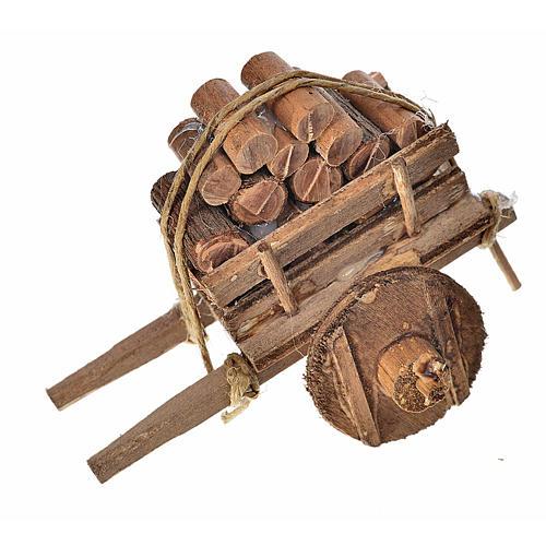 Carro napoletano presepe con legna 5,5x7,5x5,5 cm 1