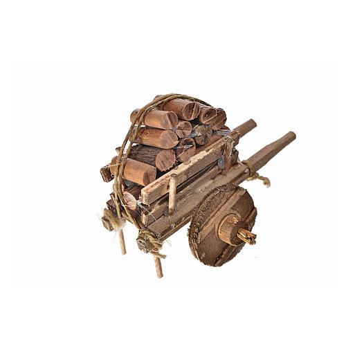 Carro napoletano presepe con legna 5,5x7,5x5,5 cm 2