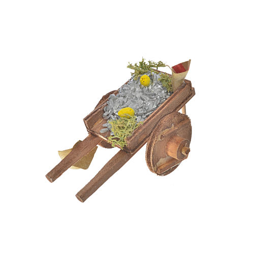 Charrette avec poissons crèche napolitaine 5,5x7,5x5,5cm 4