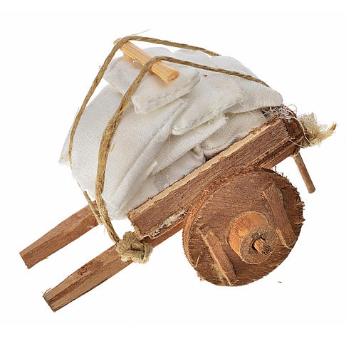 Charrette avec tissus crèche napolitaine 5,5x7,5x5,5cm 1