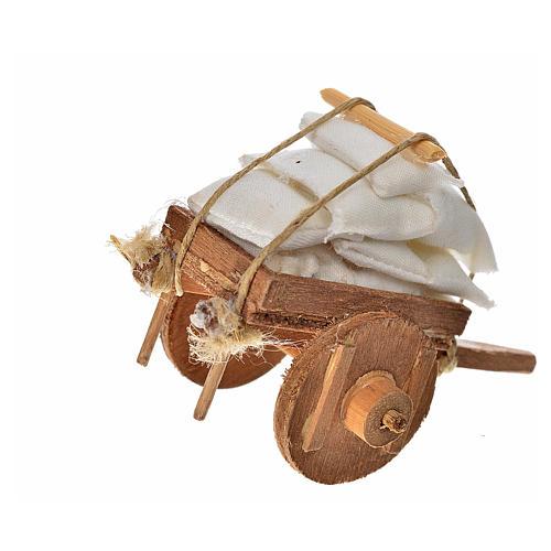 Charrette avec tissus crèche napolitaine 5,5x7,5x5,5cm 2