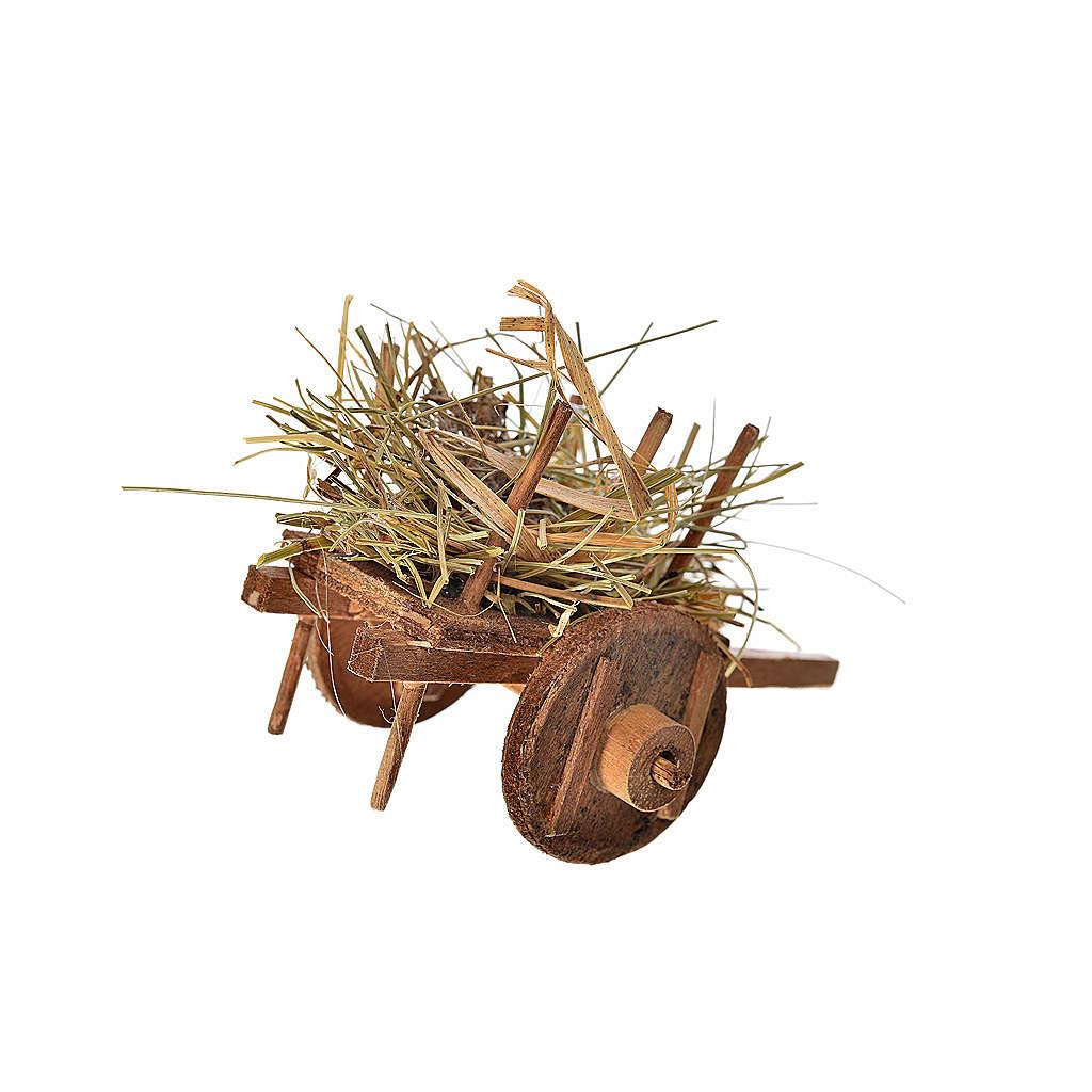 Charrette avec paille crèche napolitaine 5,5x7,5x5,5cm 4