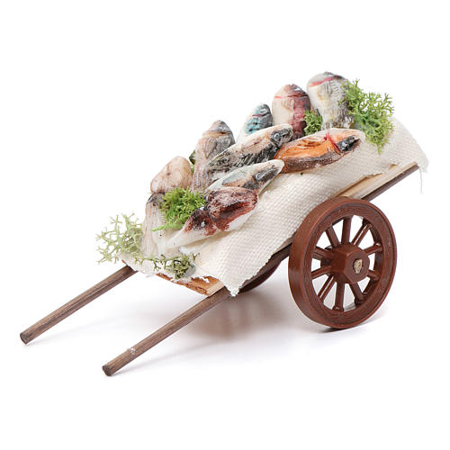 Neapolitan Nativity accessory, fishmonger's cart in wax 5x11x5cm 1