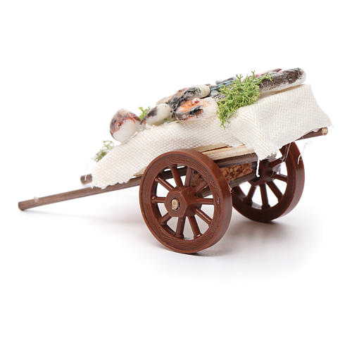 Neapolitan Nativity accessory, fishmonger's cart in wax 5x11x5cm 3